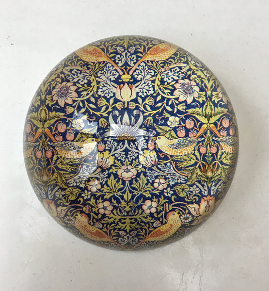 <p>Stylish and useful glass paperweight with the Morris & Co. Strawberry Thief design.</p>