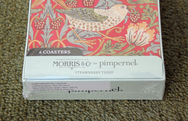 Morris & Co for Pimpernel Strawberry Thief Red Coasters - Set of 6
