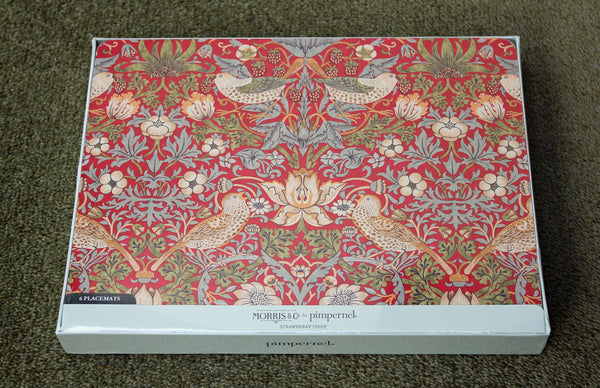 Morris & Co for Pimpernel Strawberry Thief Red Placemats - Set of 6