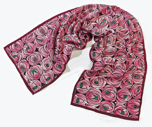 <p>Beautiful and stylish silk scarf in the Rose & Teardrop design by Charles Rennie Mackintosh.</p>