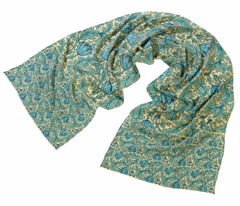 <p>Beautiful and stylish silk scarf in the Anemone design by John Henry Dearle for Morris & Co.</p>