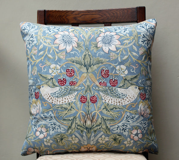 <p>Cotton cushion in William Morris Strawberry Thief slate print. Sanderson fabric.</p>