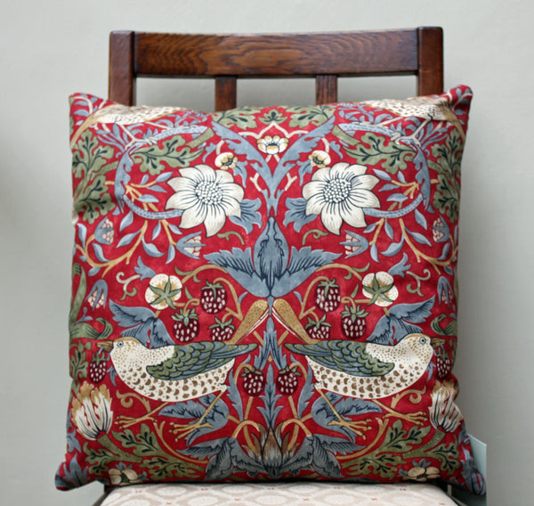 William Morris Strawberry Thief Crimson Cushion Cover