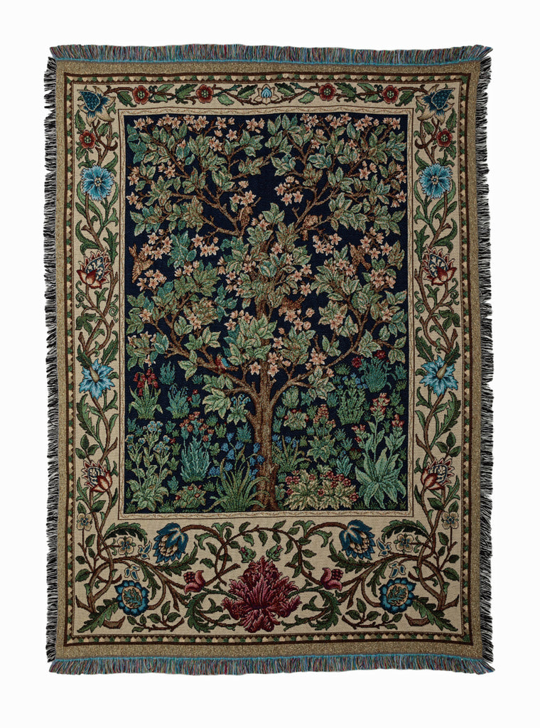 William Morris Tree Of Life Tapestry Fringed Throw Arts And Crafts Living