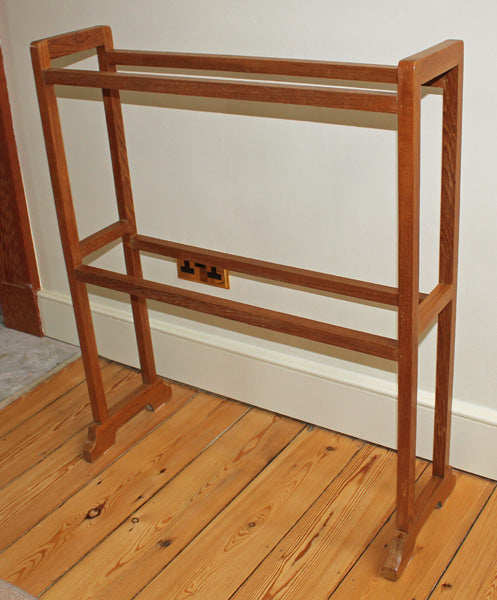 Antique Arts and Crafts Heals Oak Towel Rail - Rare