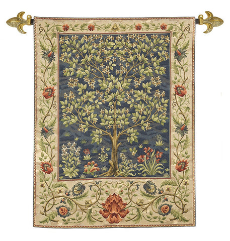 <p>Fine quality cotton jacquard loom woven tapestry in the famous Tree of Life blue design by William Morris.</p>