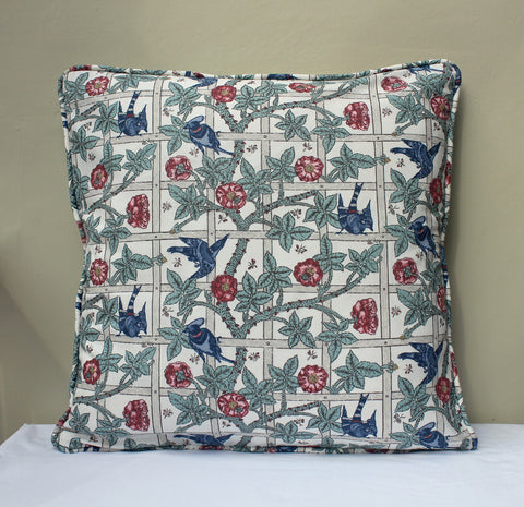 William Morris Trellis Piped Edge Cushion