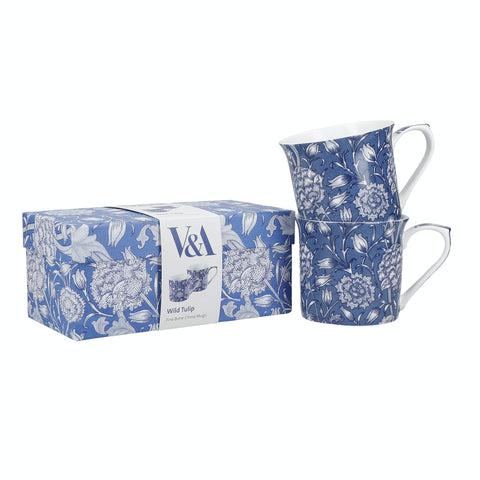 Set of 2 V & A William Morris Wild Tulip Fine China Mugs