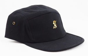 Black 5 Panel Hat With Gold Emblem