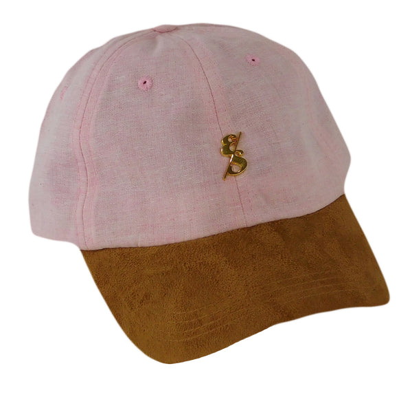Ultralight Pink Chambray Dad Hat With Gold Emblem