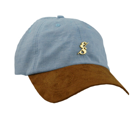 Ultralight Light Blue Chambray Oxford  With Gold Emblem Dad Hat
