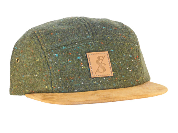 No. 311 Speckled Olive Wool 5 Panel Camper With Suede Bill