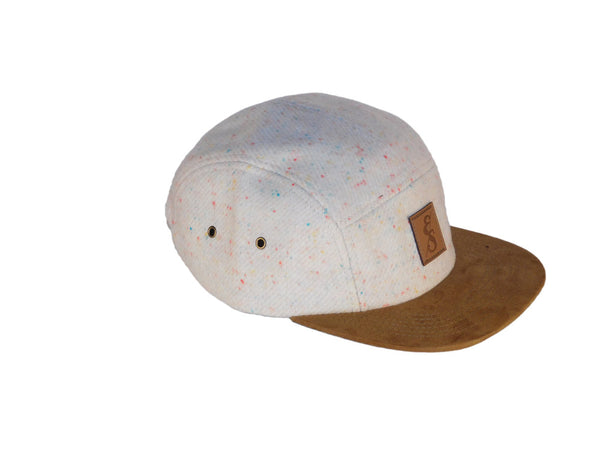 No. 312 Speckled Cream Wool 5 Panel Camper With Suede Bill