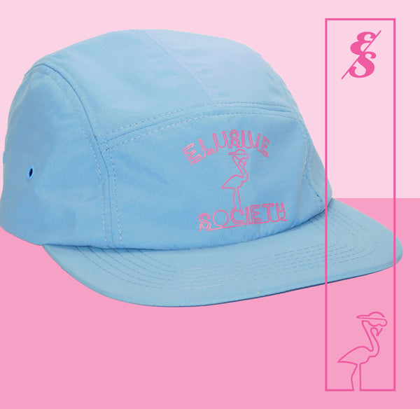 No. 322 Neon Flamingo Nylon 5 Panel Hat (Light Blue)