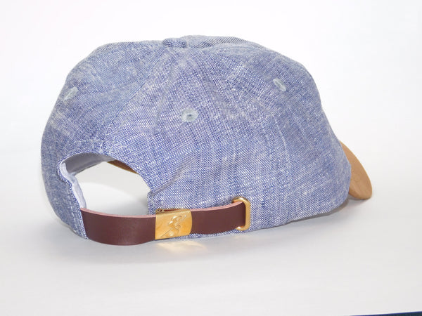 Chambray Linen Dad Hat back with Leather Strap and logo embossed buckle