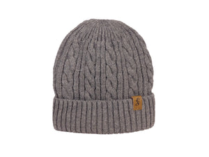 No. 332 Wool Cable Knit Beanie with faux fur lining