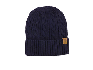 No. 333 Navy Wool Cable Knit Beanie with faux fur lining