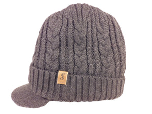 No. 334 Wool Cable Knit Beanie with bill & faux fur lining