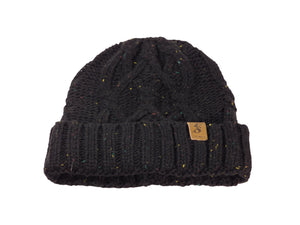 No. 340 Black Speckled Cable Knit Beanie
