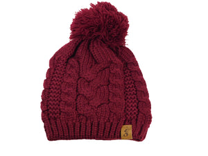 No. 342 Burgundy Slouch Beanie With Pom