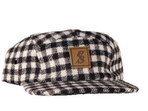 No. 275 Black & White Checkered Wool 5 Panel Camper