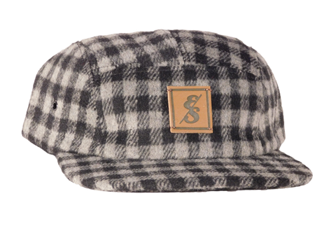No. 276 Charcoal & White Checkered Wool 5 Panel Camper Hat