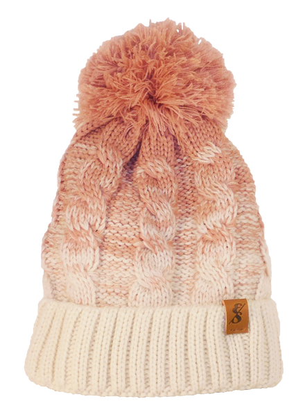 No. 365 Pink & White Cable Knit With Fleece Lining