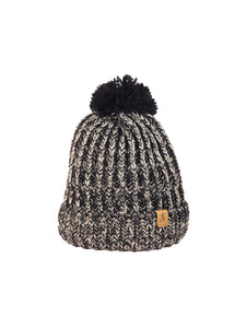 No. 364 Marled Black Beanie With Fleece Lining