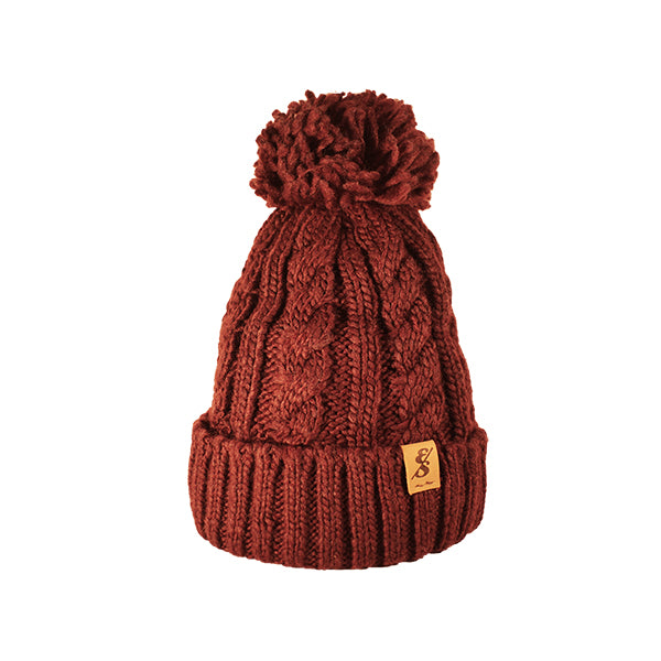 No. 368 Burgundy Cable Knit With Fleece Lining