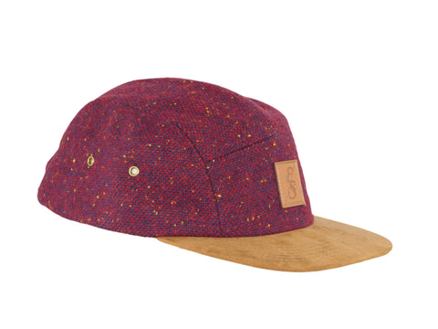 No. 314 Burgundy Tweed 5 Panel With Suede Bill