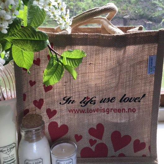 Love is green jute bag - Annas Rom