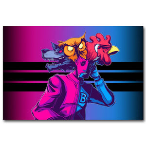 Hotline Miami Art Silk Fabric Poster Print 13x20 24x36 inch Hot Game Picture for Living Room Wall Decoration 003