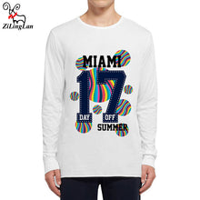 Load image into Gallery viewer, Zilinglan MIAMI 17 Day Off Cotton Autumn Funny Mens Long Sleeve t shirt Men Long-Sleeved T-Shirt Men Fashion Printed Tees