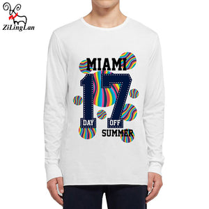 Zilinglan MIAMI 17 Day Off Cotton Autumn Funny Mens Long Sleeve t shirt Men Long-Sleeved T-Shirt Men Fashion Printed Tees