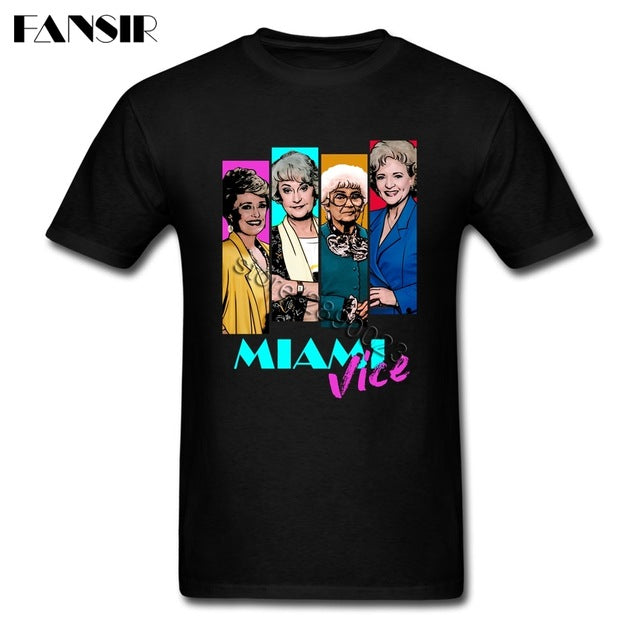 2017 Cool Miami Vice TV Series T Shirt Homme White Short Sleeve Custom Men Tee Shirt Streetwear Big Size