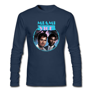 Miami Vice T Shirt O-neck Cotton Long Sleeve Custom  T-shirts For Men Fashion Crossfit T Shirts