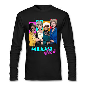 Miami Vice T Shirt Custom Long Sleeve Brand-clothing Hipster Crazy Cotton Crewneck  Fitness Men