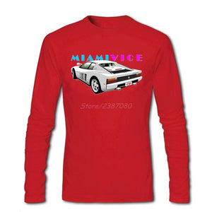 Car Miami Vice T Shirt Long Sleeve T-shirts For Men Hip Hop Undertale O-neck Cotton Tee Shirts Homme