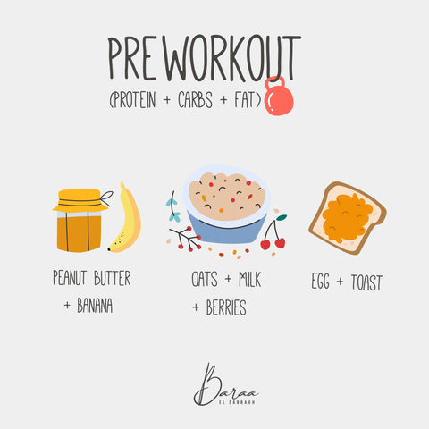 Pre and post workout meals by Baraa El Sabbagh, dietician, sports nutritionist, personal trainer, dubai