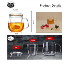 OVP® Borosilicate Glass Cup with Filter and Lid