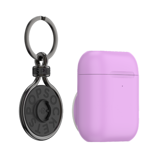 AirPods Holder Iris Purple + PopChain Premium Gunmetal