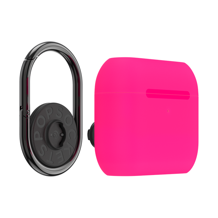 AirPods Pro Holder Neon Pink with Premium Gunmetal PopChain