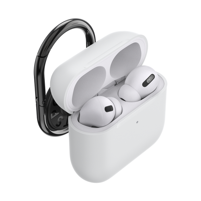 AirPods Pro Holder White with Premium Gunmetal PopChain