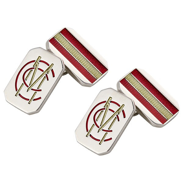 RHODIUM-PLATED AND ENAMELLED RECTANGULAR CUFFLINKS