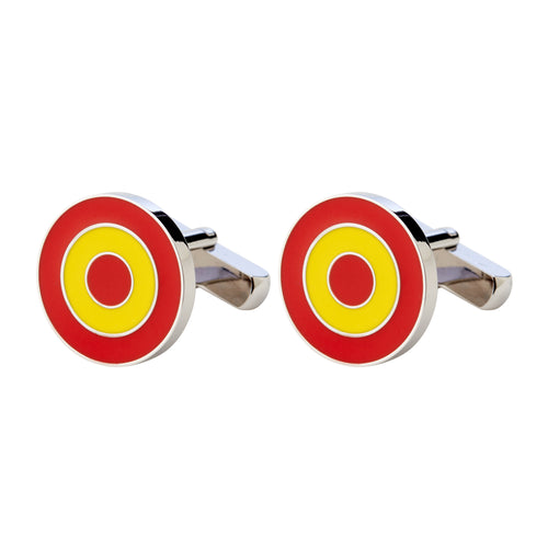 RHODIUM-PLATED AND ENAMELLED FULL COLOUR ROUND CUFFLINKS