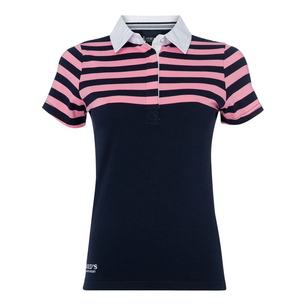 LORD'S NAVY AND PINK STRIPED POLO SHIRT
