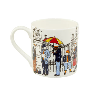 'THE EARLY MORNING QUEUE' FINE BONE CHINA MUG