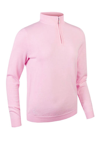 LADIES' ZIP NECK COTTON SWEATER- 'AVA'