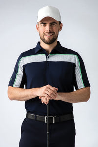 MEN'S PERFORMANCE GEOMETRIC PRINTED CHEST STRIPED POLO SHIRT - 'CLYDE'