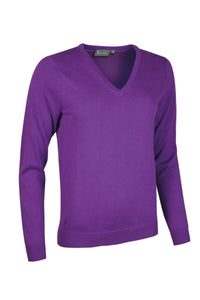 LADIES' V-NECK COTTON SWEATER - 'DARCY'